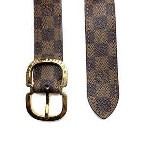 Louis Vuitton Womens Damier Ebene Belt Brown